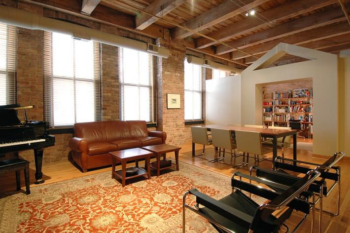 Salon loft immobilier