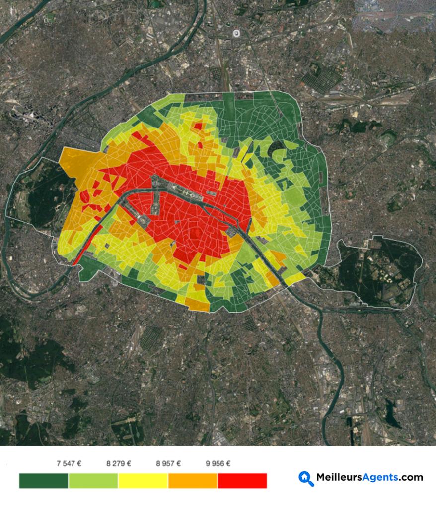 Carte prix du m2 arrondissement paris